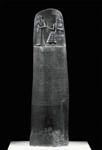 Stele ( An upright stone or slab with an inscribed or sculptured surface) of Hammurabi's Code